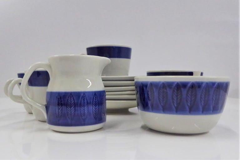 Swedish Rörstrand Coffee / Tea Set Koka Blå Pattern Designed by Hertha Bengtson, 1950s For Sale