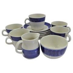 Rörstrand Coffee / Tea Set Koka Blå Pattern Designed by Hertha Bengtson, 1950s