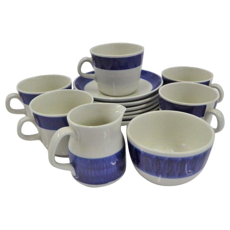 Rörstrand Coffee / Tea Set Koka Blå Pattern Designed by Hertha Bengtson, 1950s For Sale
