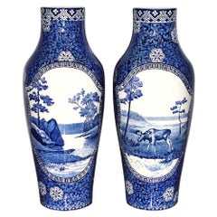 Rörstrand Pair of Porcelain Vases Moose Blue Landscape, Sweden, 19th Century