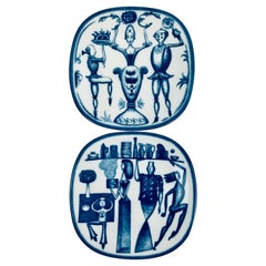 Rörstrand Porcelain Commemorative Plates by Niels-Christian Hald-Cobalt Blue