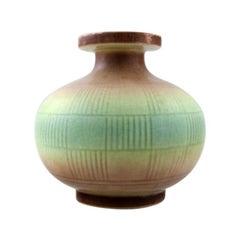 Rörstrand Round Art Deco Vase in Stoneware Geometric Pattern