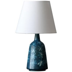 Rörstrand, Small Table Lamp, Blue Glazed Floral Motifs, Stoneware, Sweden, 1960s