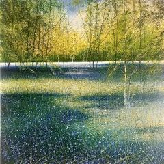 Bluebell Woods original landscape painting- Contemporary Art- 21st Century