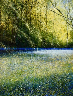 Branches in Bluebell Wood - original landscape nature painting Contemporary Art