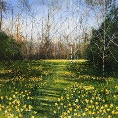 Daffodils - original landscape oil painting contemporary modern art 21st C