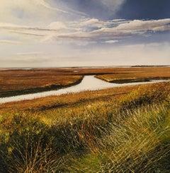 Estuary, Brancaster - Original landscape sky oil artwork Contemporary Modern