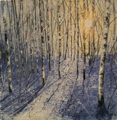 In to the Light Snow - original landscape winter painting contemporary art