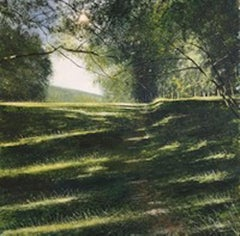 Path into Light - Original forest painting contemporary English countryside