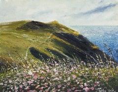 Pink Campion - original landscape coast painting contemporary modern art