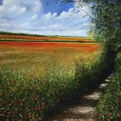 Poppy Field - original landscape painting Contemporary Impressionism Art 21st C