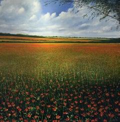 Poppy Field original landscape painting Contemporary Impressionism Art 21st