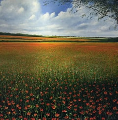 Poppy Field original landscape painting Contemporary Impressionism Art 21st