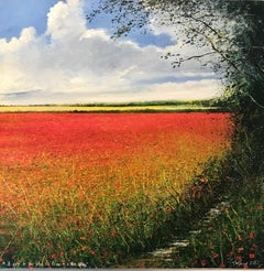 Poppy Path to the Future - original landscape painting contemporary modern art