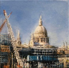 St Paul's and Cranes - cityscape oil painting contemporary modern