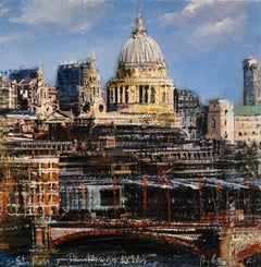 St Paul's and the Ferraday Building - cityscape oil painting contemporary modern