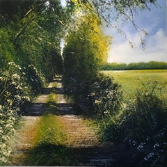 Sunny Path original landscape painting- Contemporary Art- 21st Century