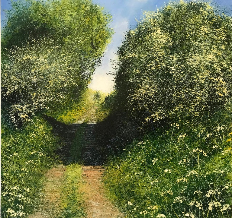 Rory J. Browne Landscape Painting - Sunny Path original landscape painting- Contemporary Art- 21st Century