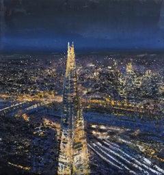 The Shard London - original city dark landscape oil painting contemporary modern