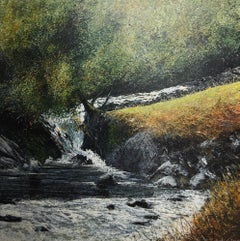 Tree by a Stream - original oil painting contemporary modern art