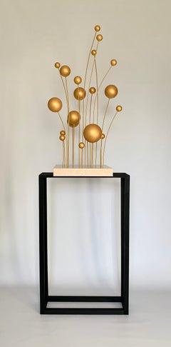 Nature Balance, interior golden plant sculpture