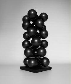 Time Tornado, black interior metal wood steel table abstract spheres sculpture