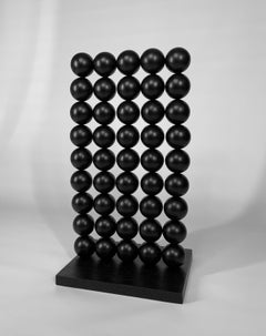 Wall, black interior metal and wood steel table abstract sphere sculpture