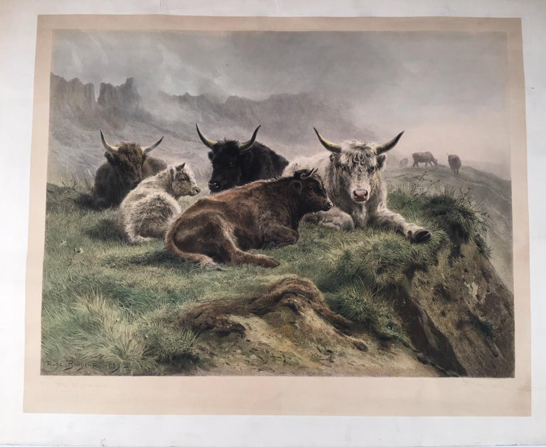 Rosa Bonheur Landscape Print - Cattle Resting on a Hillside in the Alps