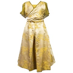 Rosa C. Korn labelled Dress in Chinese Damask Satin - United States Circa 1915