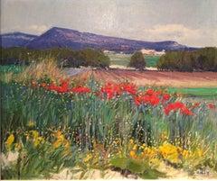 Contemporary Bright & Colourful Rural Landscape 'Mountain Villa' by Rosa Canto