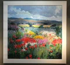 Contemporary Bright & Colourful Landscape Painting 'Summer Flowers', Red & Green