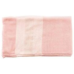 Rosa Plush Handloom King Size Merino Bedspread in Shades of Soft Pink & Cream