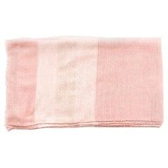 Rosa Plush Handloom Queen Size Merino Bedspread In Shades of Soft Pink & Cream