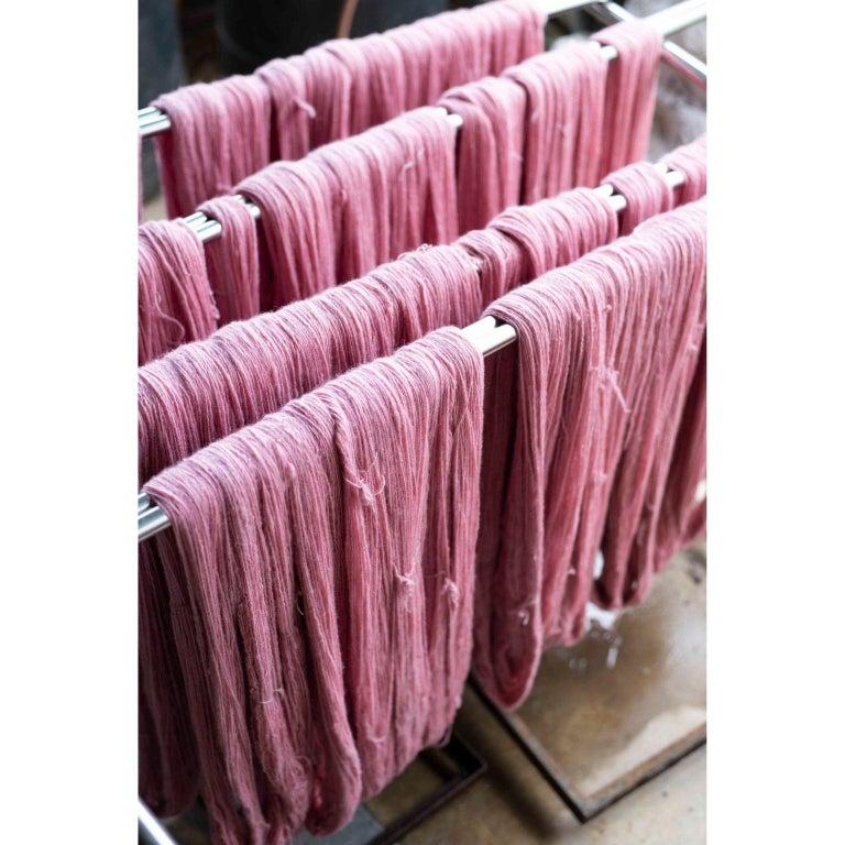 ROSA Plush Handloom Throw / Blanket / Bedspread In Pastel Pink Soft Merino  For Sale 5