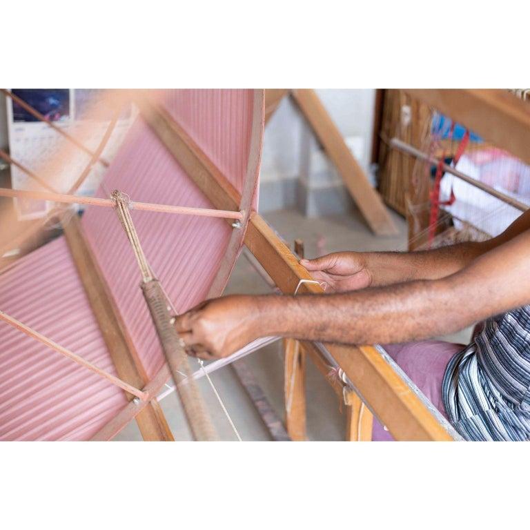 ROSA Plush Handloom Throw / Blanket / Bedspread In Pastel Pink Soft Merino  For Sale 7