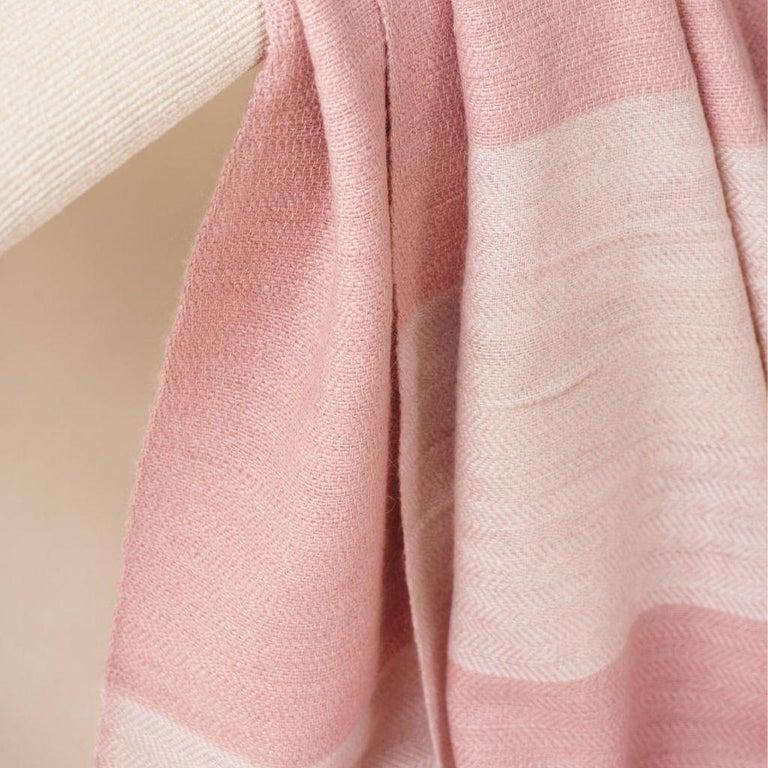 Hand-Woven ROSA Plush Handloom Throw / Blanket / Bedspread In Pastel Pink Soft Merino  For Sale