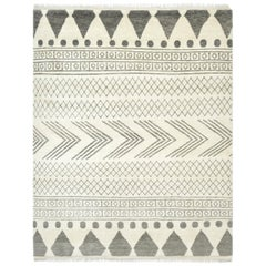 Rosalyn, Bohemian Shaggy Moroccan Hand Knotted Area Rug, Cream