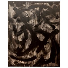 Rosalyn Engelman XL Black and Gray Abstract Painting