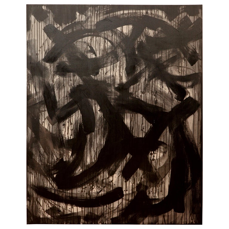 Rosalyn Engelman XL Black and Gray Abstract Painting For Sale