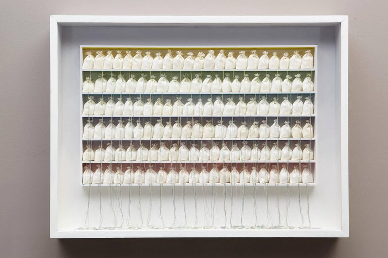 Mixed-Media - oil, fabric bags, thread and wood in a Masonite shadow box construction under plexiglass. Signed, title and date on the back, inventory number ASG RBE 60, stamped Allen Stone Galleries.  Rosamond Berg was born in Brewster, New York,