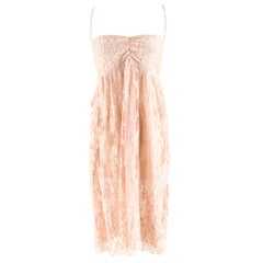 Rosamosario Nude Pink Lace Slip Dress IT42