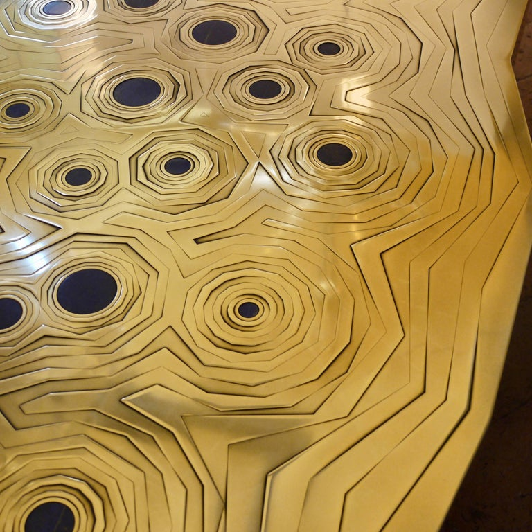 French Rosanna Coffee Table in Brass and Steel with Inlaid Lapis Lazuli, Erwan Boulloud For Sale