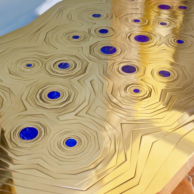 Rosanna Coffee Table in Brass and Steel with Inlaid Lapis Lazuli, Erwan Boulloud For Sale 1