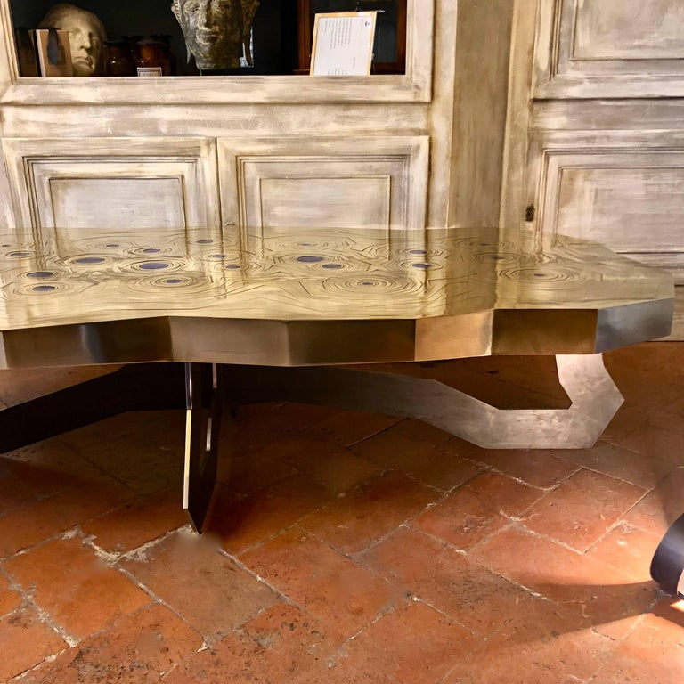 Rosanna Coffee Table in Brass and Steel with Inlaid Lapis Lazuli, Erwan Boulloud For Sale 3