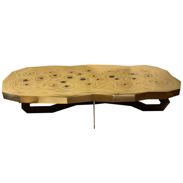 Rosanna Coffee Table in Brass and Steel with Inlaid Lapis Lazuli, Erwan Boulloud For Sale
