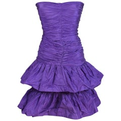 Rosanna Manzoni Purple Silk Chiffon Strapless Cocktail Dress 1980s