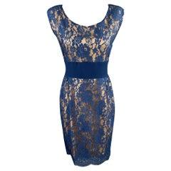 ROSANNA MANZONI Size 10 Blue Silk Lace Shift Cocktail Dress