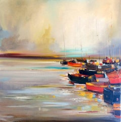Boats at Harbour original landscape painting Contemporary Art 21st Century