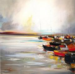 Boats at Harbour original landscape painting Contemporary Art 21st Century