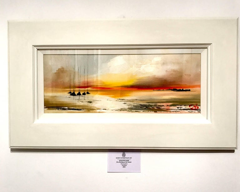 Five boats at the Sunset original landscape painting Contemporary Art 21st Cent - Painting by Rosanne Barr